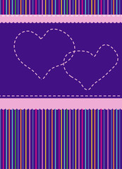 striped, abstract background with hearts