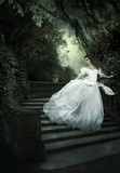 The fairy tale Charles Perraults Cinderella .Girl, night, stairs