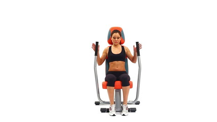 Brunette doing exercises on isodynamic trainer
