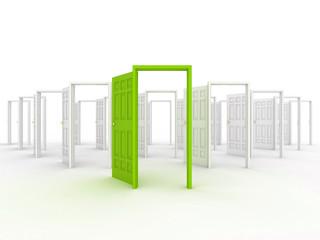 Many doors. 3d