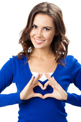Woman showing heart symbol gesture, isolated