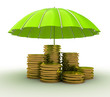 Stacks of golden coins covered by green umbrella
