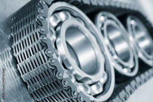 ball-bearings, gears and chain, blue toning idea