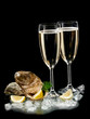 Champagne and oysters shells