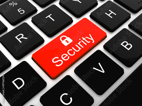 security key on the keyboard of laptop computer