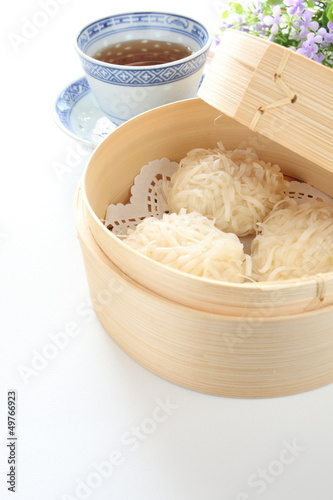 chinese cuisine, Shumai in bamboo steamer for yam cha image Poster