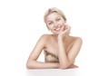 smiling woman blond isolated on white