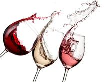 Red, rose i białe wino w górę
