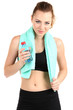 Young woman with water after workout isolated on white