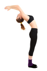 Young women in yoga style isolated on white
