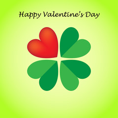 Valentine's card, four-leaf clover created from hearts