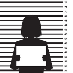 Police criminal record background with woman