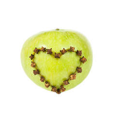 Fresh apple with a heart shaped cut out
