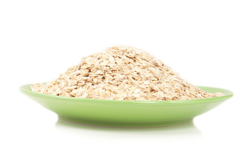 pile of oatmeal on a green plate