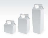 Set of milk boxes, milk carton with screw cap