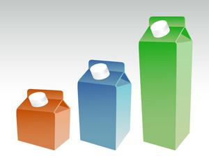 Set of color milk boxes, milk carton with screw cap