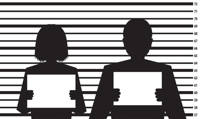 Police criminal record with man and woman