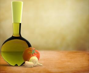 Botella de aceite con tomate y ajos