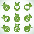Medical icons and design with green leaf