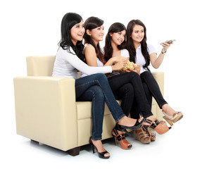 Group of girls watching movie