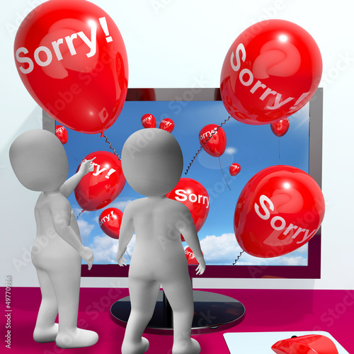 Sorry Balloons From Computer Showing Online Apology Or Remorse