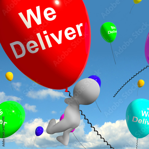 We Deliver Balloons Showing Delivery Shipping Service Or Logisti