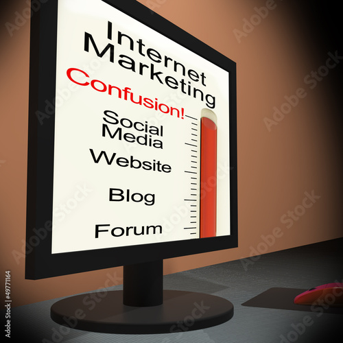 Internet Marketing On Monitor Showing Emarketing Confusion