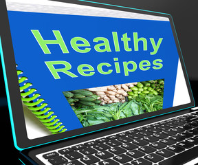 Healthy Recipes On Laptop Shows Online Recipes