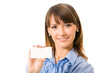 Happy smiling business woman with business card