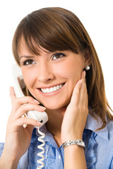 Happy smiling businesswoman with phone