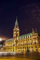 townhall in Hamburg by night