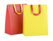 two blank red and yellow shopping bags isolated on white backgro