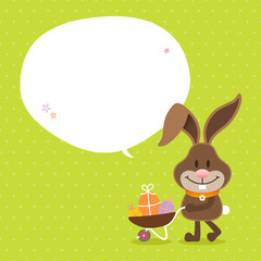 Bunny Wheelbarrow Speech Bubble Green Dots