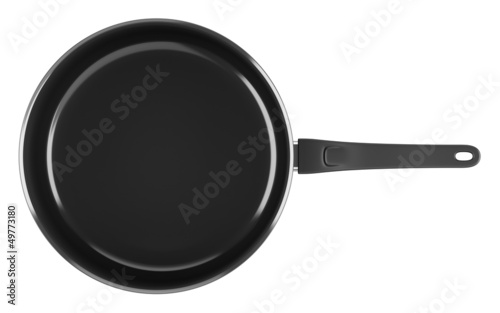 top view of single black cooking pot isolated on white backgroun