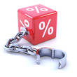 Red dice and chain with percentage symbol