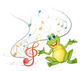 A frog with musical notes