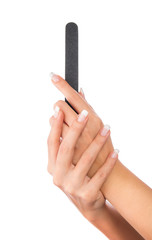 Woman holding nail file, hands care