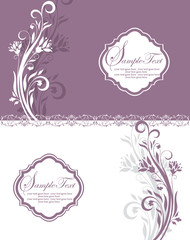 purple and white floral invitation card
