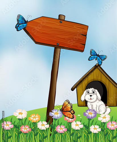 An arrow board with butterflies