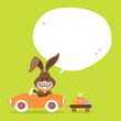 Bunny Car Speech Bubble Green Dots