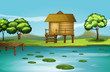A hut at the riverbank