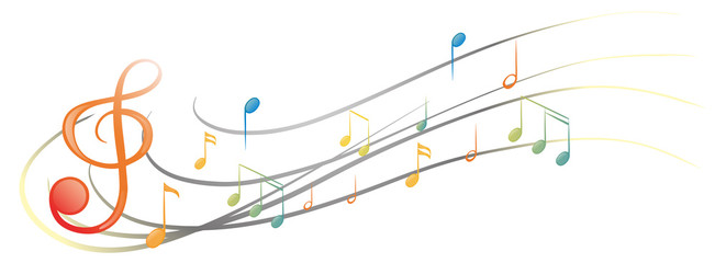 The different musical notes and symbols