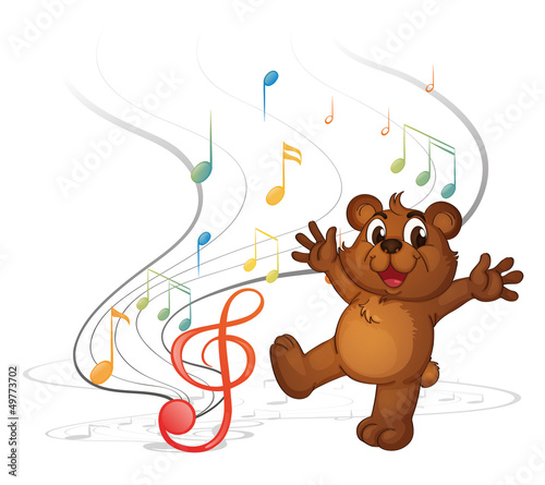 A dancing bear and the musical notes