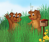 Two young bears near a wooden mailbox