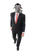 Business man with gas mask walking, isolated on white
