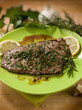 beef steack with garlic and mixed herbs, selective focus
