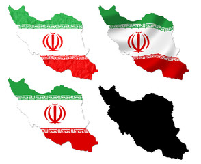 Iran flag over map collage