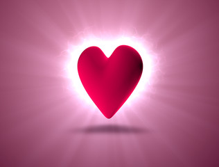 heart rotating in the rays