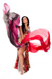 Belly Dancer Dancing with Multicolored Veils
