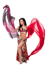 Cheerful Belly Dancer Dancing with Multicolored Veils